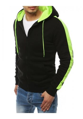 Sportovní pánská mikina černo-zelené barvy s kapucí