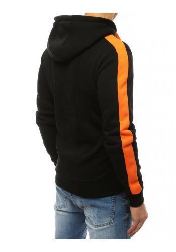 Pánská módní mikina s kapucí v černo-oranžové barvě