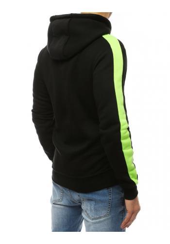 Černo-zelená módní mikina s kapucí pro pány