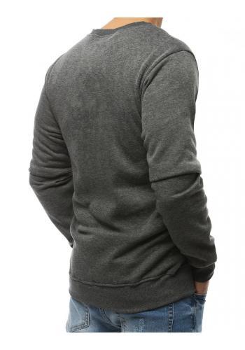 Pánská klasická mikina s potiskem v tmavě šedé barvě