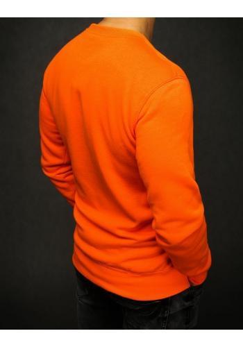 Hladká pánská mikina oranžové barvy bez kapuce