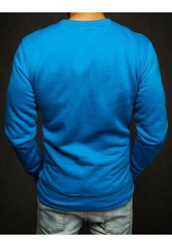 Modrá hladká mikina bez kapuce pro pány