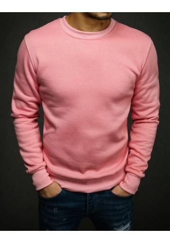 Hladká pánská mikina růžové barvy bez kapuce