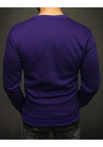 Pánská hladká mikina bez kapuce ve fialové barvě