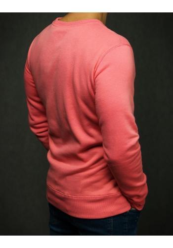 Růžová hladká mikina bez kapuce pro pány