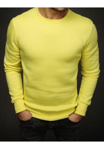 Hladká pánská mikina žluté barvy bez kapuce