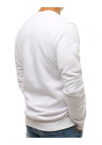 Bílé hladké mikiny bez kapuce pro pány