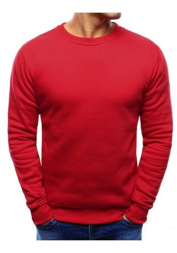 Hladká pánská mikina červené barvy bez kapuce