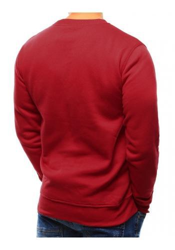 Červená hladká mikina bez kapuce pro pány
