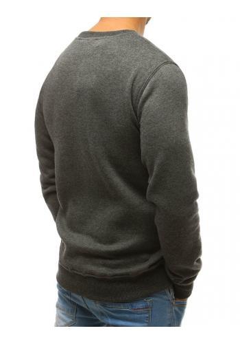 Pánská hladká mikina bez kapuce v tmavě šedé barvě