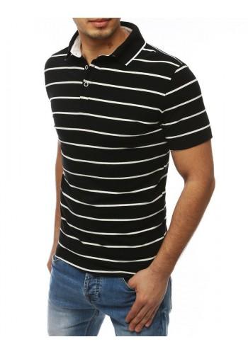 Žíhaná pánská polokošile černé barvy s třemi knoflíky