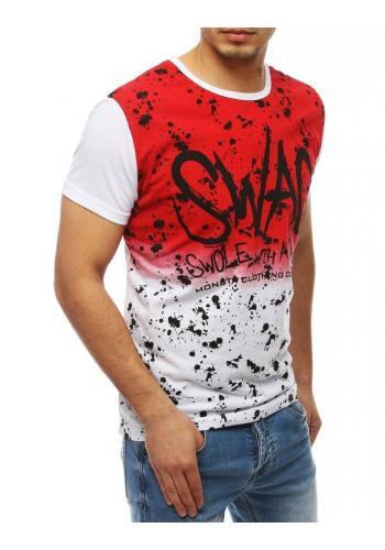 Bílo-červené módní tričko s potiskem pro pány