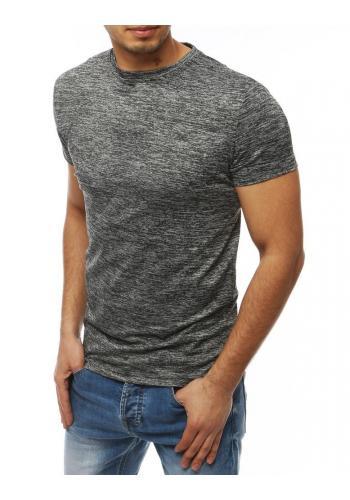 Pánské klasické tričko bez potisku v tmavě šedé barvě