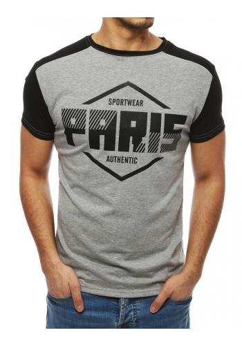 Stylové pánské tričko světle šedé barvy s potiskem