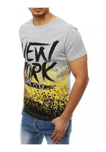 Pánské módní tričko s potiskem v světle šedé barvě