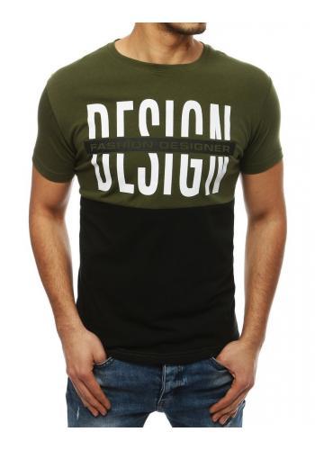 Pánské módní tričko s potiskem v zeleno-černé barvě