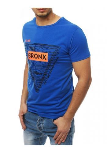 Pánské klasické tričko s potiskem v modré barvě