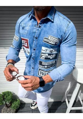 Riflová pánská košile světle modré barvy s potiskem
