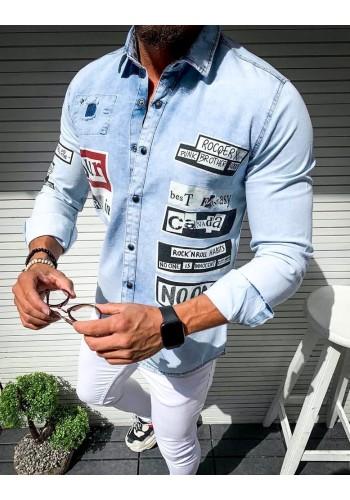 Světle modrá riflová košile s potiskem pro pány