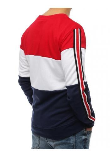 Pánská stylová mikina s pásy na rukávech v červeno-modré barvě