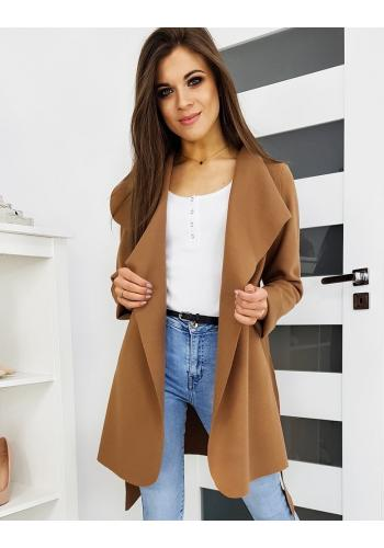 Dámský jarní kabát s vázáním v pase v hnědé barvě