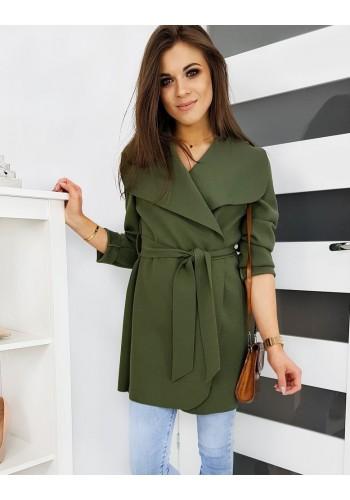 Dámské jarní kabáty s vázáním v pase v olivové barvě