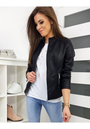 Dámská klasická koženková bunda v černé barvě