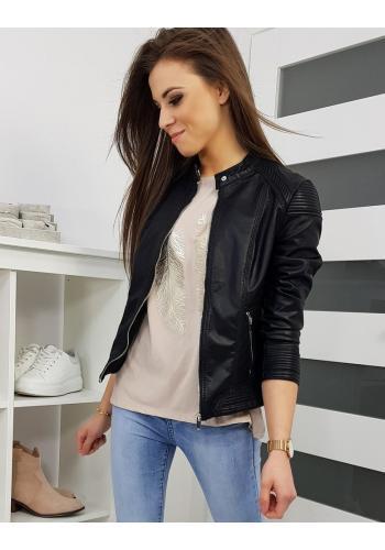 Kožená dámská bunda černé barvy na přechodné období