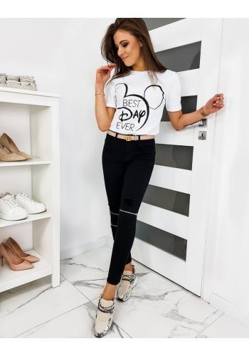 Dámské klasické tričko s módním potiskem v bílé barvě