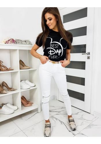 Černé klasické tričko s módním potiskem pro dámy