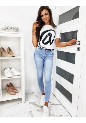 Bílé klasické tričko s módním potiskem pro dámy