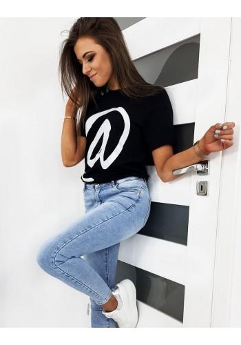 Klasické dámské tričko černé barvy s módním potiskem