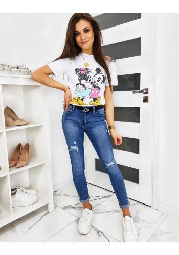 Dámské módní tričko s barevným potiskem v bílé barvě