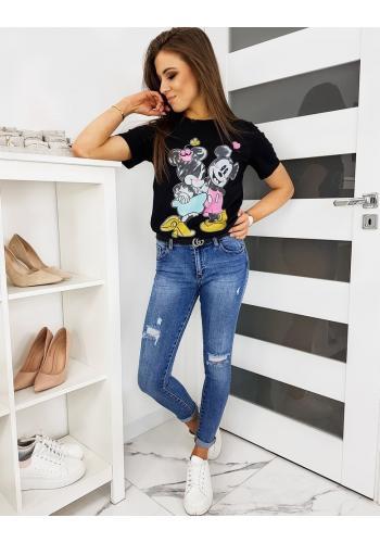 Černé módní tričko s barevným potiskem pro dámy