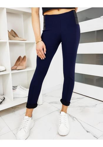 Dámské elastické kalhoty v tmavě modré barvě