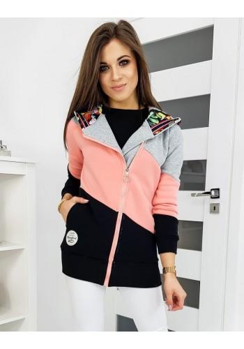 Růžovo-černá prodloužená mikina s kapucí pro dámy