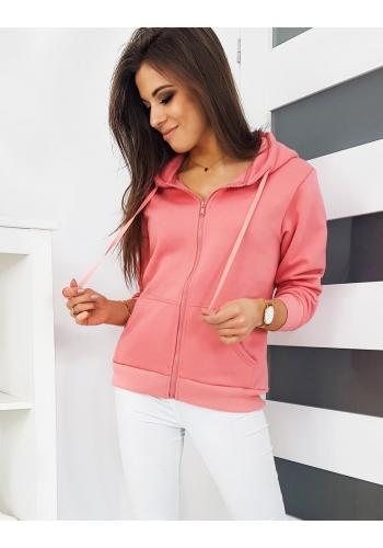 Sportovní dámská mikina růžové barvy s kapucí