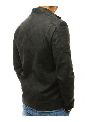 Kožená pánská bunda černé barvy