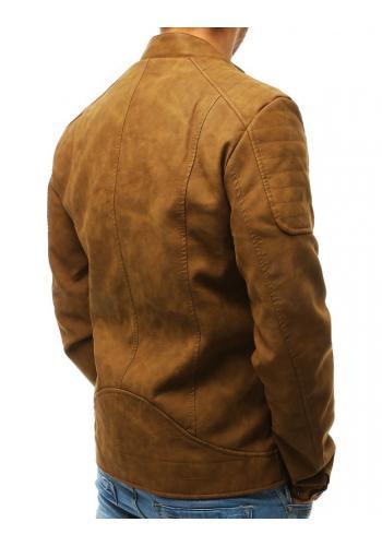Pánská kožená bunda v hnědé barvě