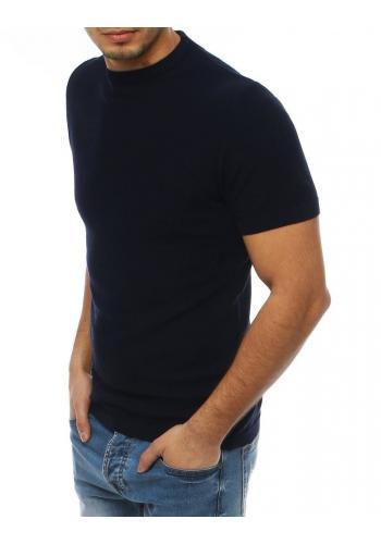 Tmavě modrý stylový svetr s krátkým rukávem pro pány
