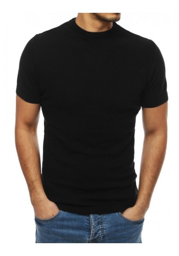 Stylový pánský svetr černé barvy s krátkým rukávem