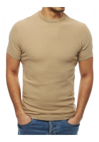 Béžový stylový svetr s krátkým rukávem pro pány