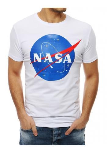 Pánské módní triko s potiskem NASA v bílé barvě