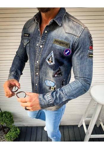 Pánská riflová košile s nášivkami v modré barvě