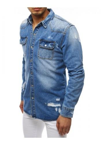 Riflová pánská košile modré barvy s dírami