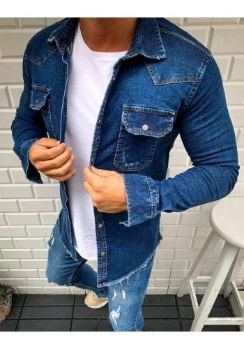 Riflová pánská košile tmavě modré barvy s kapsami na hrudi