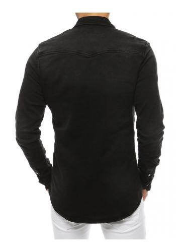 Černá riflová košile s kapsami na hrudi pro pány