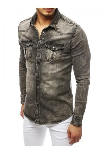 Pánská riflová košile s kapsami na hrudi v šedé barvě