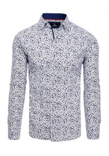 Pánská vzorovaná košile s dlouhým rukávem v bílé barvě