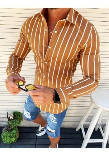 Pánská žíhaná košile s dlouhým rukávem v hnědé barvě